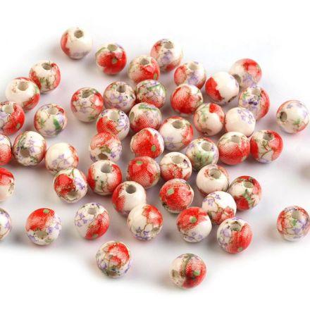 Galanterie: Porcelánové korálky 6 mm (10ks) - oranžová