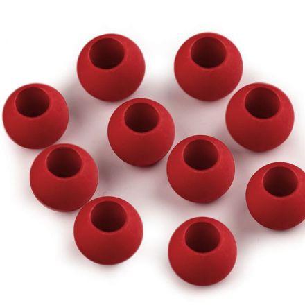 Galanterie: Plastové korálky s velkým průvlekem (20ks) - červená