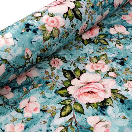 Metráž: Teplákovina nepočesaná - květy
