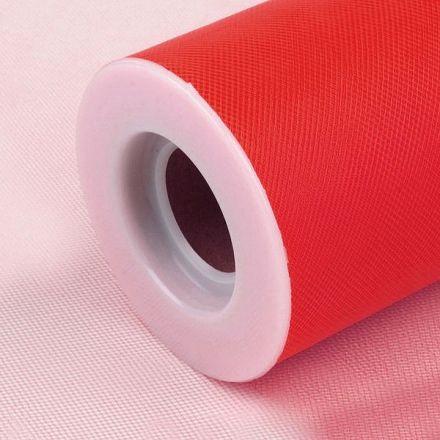 Galanterie: Tyl / stuha šíře 15 cm - červená
