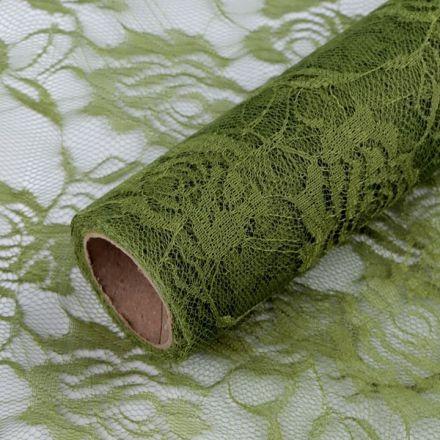 Galanterie: Dekorační krajka šíře 48 cm - zelená