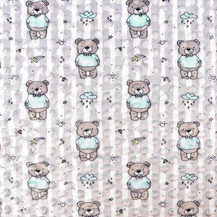 Metráž: Minky s 3D puntíky - medvídek