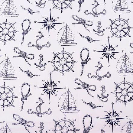 Metráž: Bavlněná látka námořnický vzor - bílá