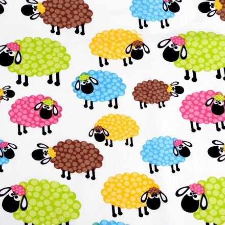 Metráž: Bavlněná látka ovečka - multikolor