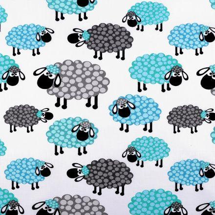 Metráž: Bavlněná látka ovečka - tyrkysová