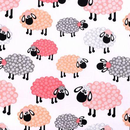 Metráž: Bavlněná látka ovečka - lososová