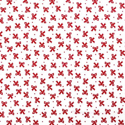 Metráž: Bavlněná látka mašličky - bíločervená