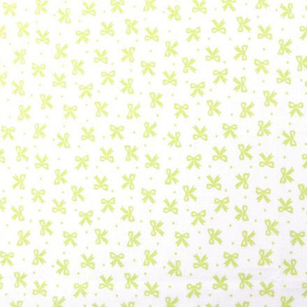 Metráž: Bavlněná látka mašličky - bílozelená