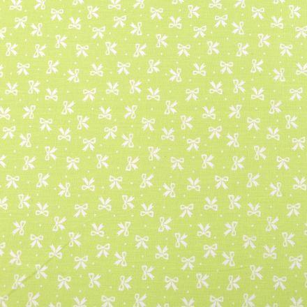 Metráž: Bavlněná látka mašličky - zelenobílá