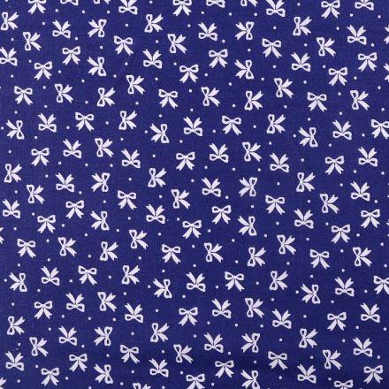 Metráž: Bavlněná látka mašličky - modrobílá tm.