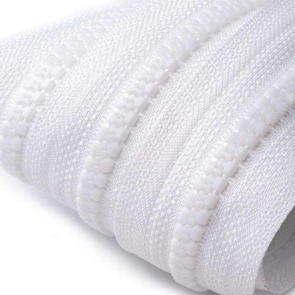 Zip kostěný 5mm - bílá