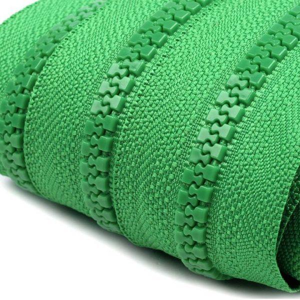 Zip kostěný 5mm - zelená