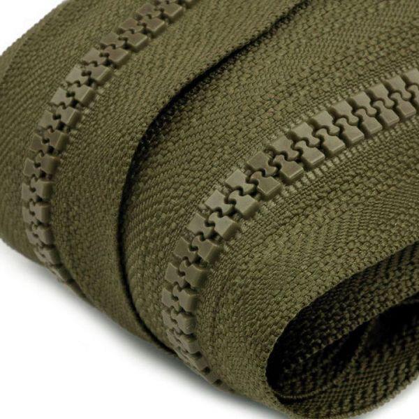 Zip kostěný 5mm - khaki