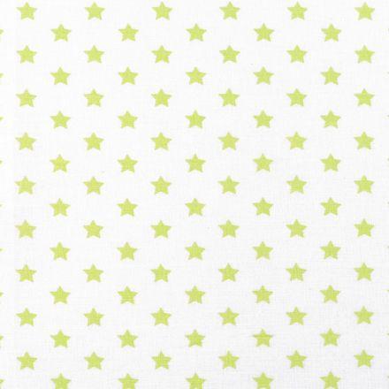 Metráž: Bavlněná látka hvězdy - bílozelená