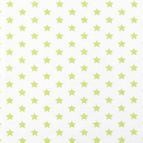 Bavlněná látka hvězdy - bílozelená