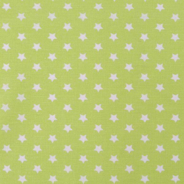 Bavlněná látka hvězdy - zelenobílá