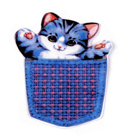 Galanterie: Aplikace / nášivka kočička - modrá