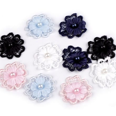 Galanterie: Květ 3D s perlou 30 mm (10ks) - mix