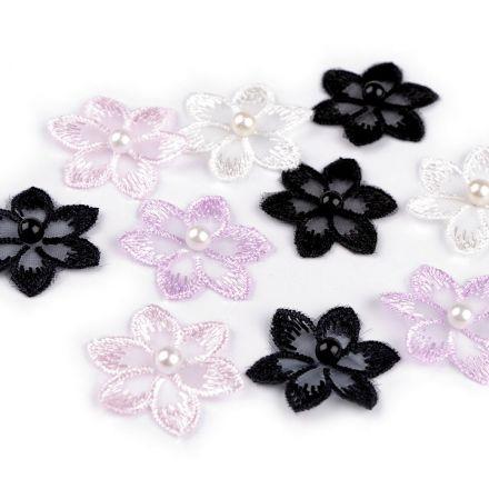 Galanterie: Vyšívaný květ 30 mm s perlou (10ks) - mix