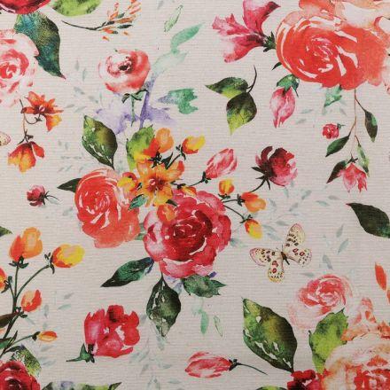 Metráž: Dekorační látka Loneta - květy