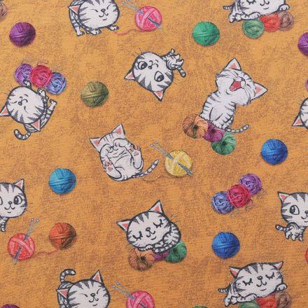 Metráž: Dekorační látka Loneta kočky - hořčicová