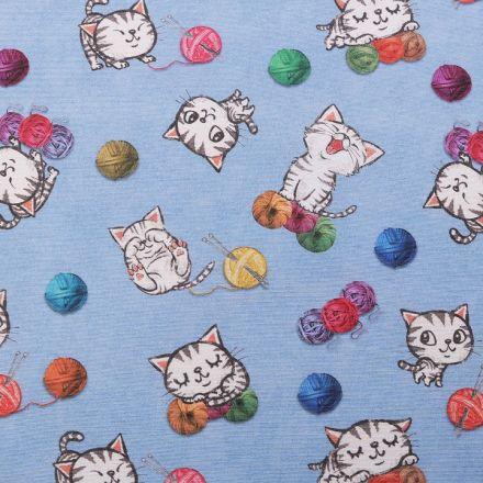 Metráž: Dekorační látka Loneta kočky - modrá