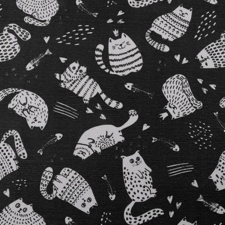 Metráž: Dekorační látka Loneta kočky - černá