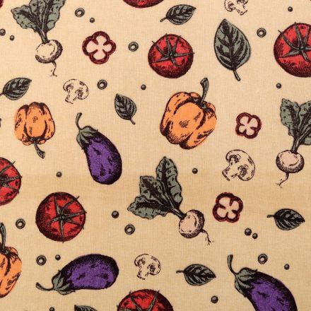Metráž: Bavlněná látka zelenina - béžová