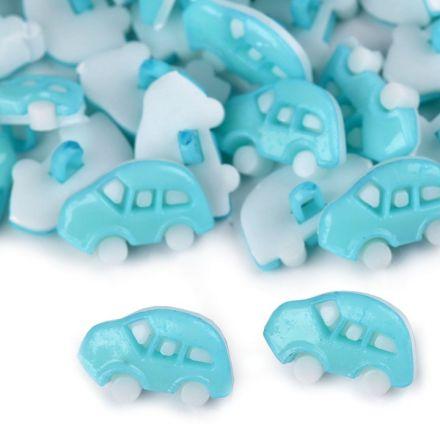 Galanterie: Knoflík plastový auto (1ks) - modrá sv.