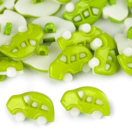 Galanterie: Knoflík plastový auto (1ks) - zelená sv.