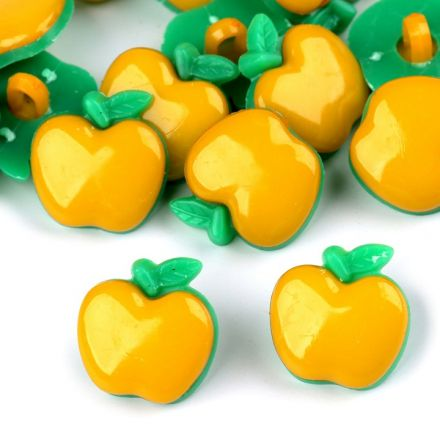 Galanterie: Knoflík plastový jablko (1ks) - žlutá