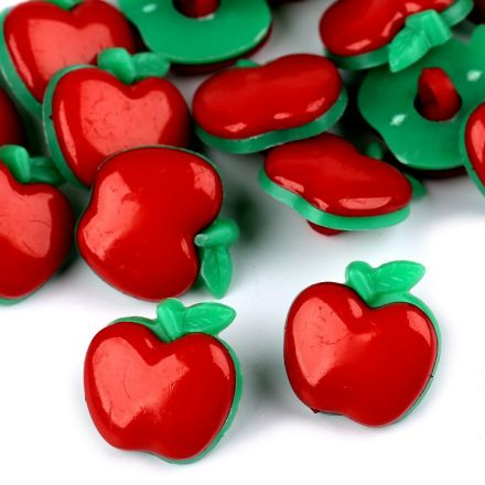 Galanterie: Knoflík plastový jablko (1ks) - červená