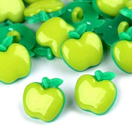 Galanterie: Knoflík plastový jablko (1ks) - zelená sv.