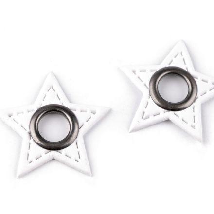 Galanterie: Průchodka s koženkovou hvězdou k našití - bílá