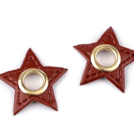Galanterie: Průchodka s koženkovou hvězdou k našití - hnědá