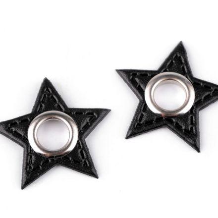 Galanterie: Průchodka s koženkovou hvězdou k našití - černá