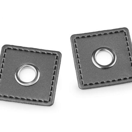 Galanterie: Průchodka s koženkovým čtverečkem - šedá