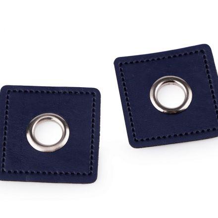 Galanterie: Průchodka s koženkovým čtverečkem - modrá