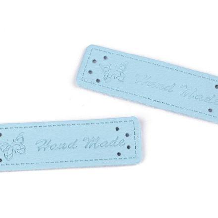 Galanterie: Cedulka Handmade 15 x 50 mm (1ks) - modrá