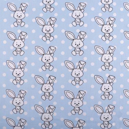 Metráž: Bavlněná látka zajíc - modrá