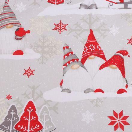 Metráž: Vánoční bavlněná látka skřítek - červená