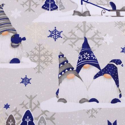 Metráž: Vánoční bavlněná látka skřítek - modrá