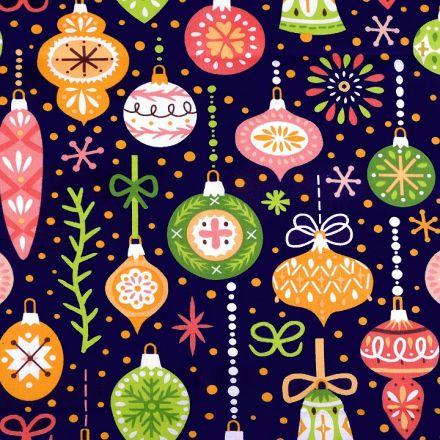 Metráž: Vánoční bavlněná látka - baňky