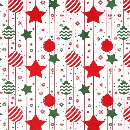 Metráž: Vánoční bavlněná látka baňky a hvězdy - červená