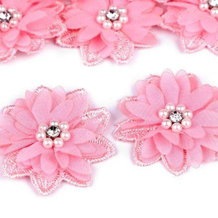 Galanterie: Květ s korálky 50 mm - růžová