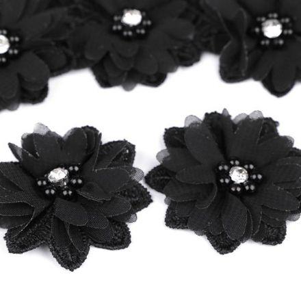 Galanterie: Květ s korálky 50 mm - černá