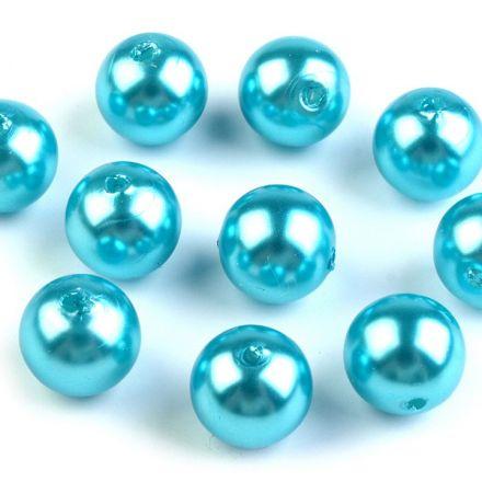 Galanterie: Plastové korálky / perly 10 mm (20ks) - tyrkysová