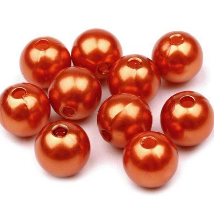 Galanterie: Plastové korálky / perly 10 mm (20ks) - rezavá