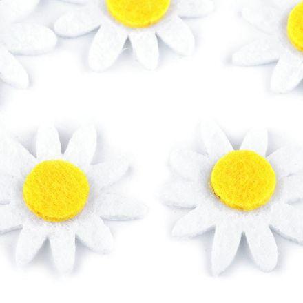 Galanterie: Filcový květ 30 mm (5ks) - bílá