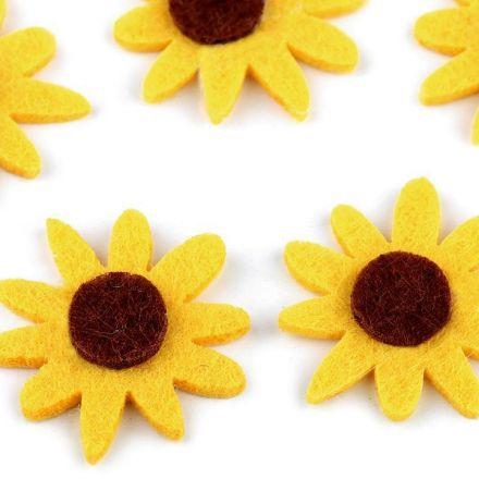 Galanterie: Filcový květ 30 mm (5ks) - žlutá